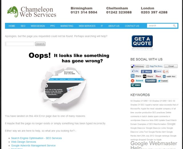 Chameleon Error Page